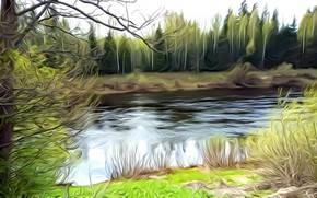 Picture greens, trees, landscape, river, rendering, fantasy, shore, treatment, spring, picture, picture of a computer, may …