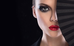 Picture woman, fan, Makeup