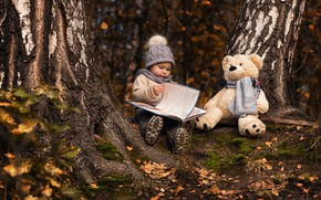 Picture trees, hat, toy, bear, girl, book