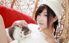 Picture cat, look, girl, hat, hair