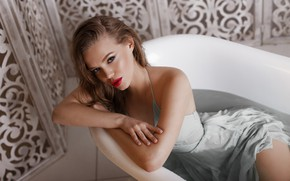 Picture look, pose, mood, model, the situation, wet, makeup, dress, hairstyle, bath, brown hair, beauty, Kate, …