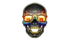 Wallpaper skull, glasses, skeleton, sake, head