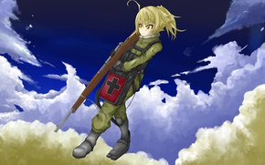 Picture girl, gun, soldier, sky, military, weapon, war, anime, cloud, cross, blonde, asian, rifle, manga, yellow …