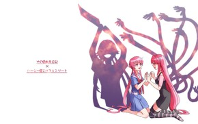 Picture shadows, octopus, Elven song, Elfen Lied, fight, Lucy, cleaver, pink hair, Mirai Nikki, Future Diary, …