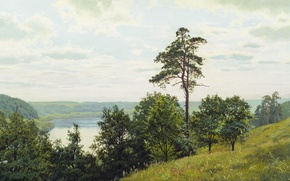 Wallpaper trees, oil, Canvas, Andrey GERASIMOV, On the shores of the Oka