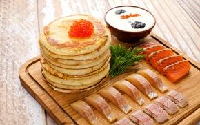 Wallpaper caviar, sauce, fish, pancakes