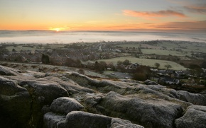 Picture stones, view, home, fog
