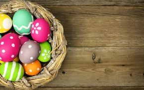 Wallpaper colorful, wood, Easter, eggs, Easter, happy, spring, holiday, eggs