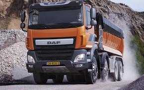 Picture orange, movement, dust, tent, body, primer, breed, DAF, DAF, quarry, dump truck, 8x4, Euro6, DAF …