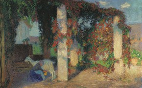 Picture picture, genre, Henri-Jean Guillaume Martin, Henri Matrin, Young Girl Milking the Goat in the Arbour …