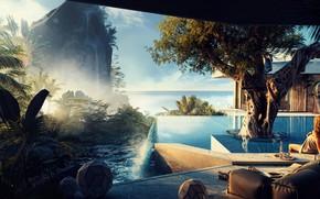 Picture rock, tree, waterfall, pool, Easy Slumber