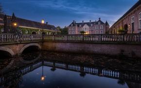 Picture lights, castle, the evening, Netherlands, Holland, Castle Ampsen