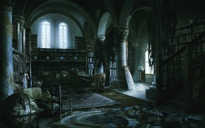 Picture twilight, mess, the room, old library