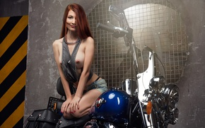 Wallpaper erotic, chest, girl, blue, yellow, grey, background, plant, model, grille, the wheel, t-shirt, chain, motorcycle, ...