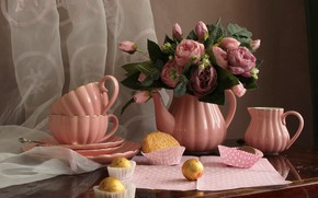 Picture kettle, napkin, flowers, the milkman, candy, table, cookies, the tea party, roses, curtain, still life, …