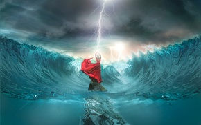 Picture wave, girl, lightning