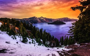 Picture mountains, lake, slope