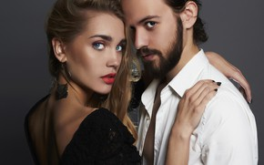 Picture look, girl, decoration, love, background, makeup, dress, hairstyle, pair, white, male, shirt, brown hair, beard, …