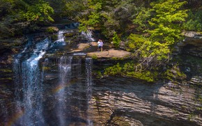 Picture greens, forest, the sun, trees, rock, stones, people, waterfall, USA, Tennessee, Piney Falls