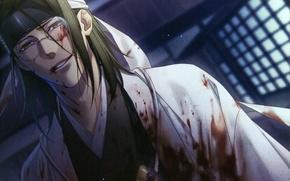 Picture blood, glasses, samurai, vampire, madness, art, demons pale cherry, hakuouki shinsengumi kitano, yone kazuki, bandage …