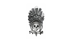 Picture skull, feathers, headdress