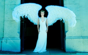 Picture wings, angel, figure, dress, actress, hairstyle, blonde, in white, photoshoot, posing, Kristen Bell, Kristen Bell, …