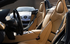 Picture Mercedes-Benz, SLR, the wheel, seat, salon