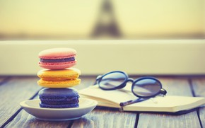Picture glasses, Notepad, dessert, cakes, cakes, dessert, glasses, macaroon, macaroon, notepad