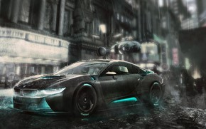 Picture Auto, The city, Machine, Rain, Car, Art, Fiction, Rendering, BMW i8, Blade Runner, Blade runner, …