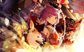 Picture dog, anime, art, girl, Onmyouji