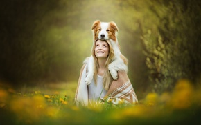 Picture girl, smile, dog, red