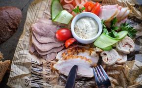 Picture sausage, sauce, vegetables, ham, appetizer, fat, cutting