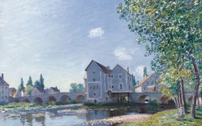 Picture house, river, picture, Alfred Sisley, Alfred Sisley, The bridge at Moret-sur-Luena. Morning Effect