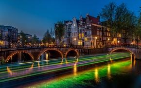 Picture night, bridge, lights, river, excerpt, Amsterdam, lights, Netherlands, Amsterdam, Night, Netherlands, Bridges, Rivers
