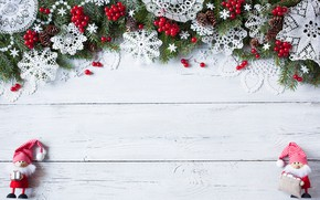 Picture Xmas, New Year, Merry Christmas, decoration, hearts, Christmas, snowflakes, berries, tree, Christmas, wood, decoration