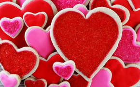 Picture cookies, red, love, Valentine, heart, romantic, gift, cookies, valentine`s day