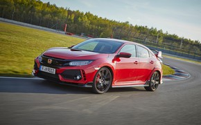 Picture forest, the sky, asphalt, clouds, red, lawn, track, Honda, 2017, Civic Type R, 2l., 320 …