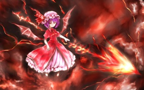 Picture flame, wings, spear, red eyes, art, vampire, Touhou Project, Remilia Scarlet, black magic, a bloody ...