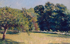 Picture trees, landscape, picture, Gustave Caillebotte, Gustave Caillebotte, A garden in Trouville