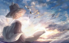 Picture the sky, hat, girl, Touhou, Touhou