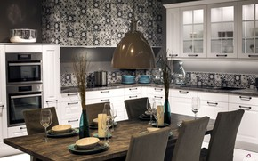 Wallpaper room, black-white pattern kitchen, kitchen, interior