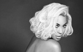 Picture portrait, black and white, singer, Beyonce