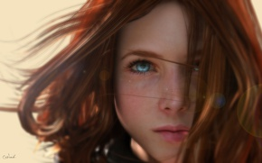 Wallpaper Lee McCall, face, 3d graphics, blue eyes, girl, by Conlaodh