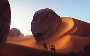 Picture sake, fantasy, sand, artwork, fantasy art, Desert, dunes, camels, caravan