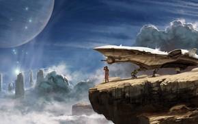 Wallpaper planet, artwork, rocks, science fiction, Kelvin Liew, clouds, digital art, astronaut, fantasy, fantasy art, Explorer, ...