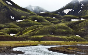 Picture snow, mountains, fog, stream, valley, Iceland