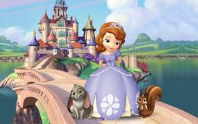 Picture castle, art, Bunny, squirrel, children's, Sofia, Princess