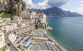 Picture beach, city, the city, coast, Italy, beach, Italy, panorama, Europe, view, Amalfi Coast, Salerno, cityscape, …