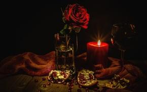 Wallpaper rose, wine, glass, garnet, candle, still life