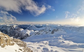 Picture winter, the sky, the sun, clouds, snow, mountains, rocks, Germany, Bayern, panorama